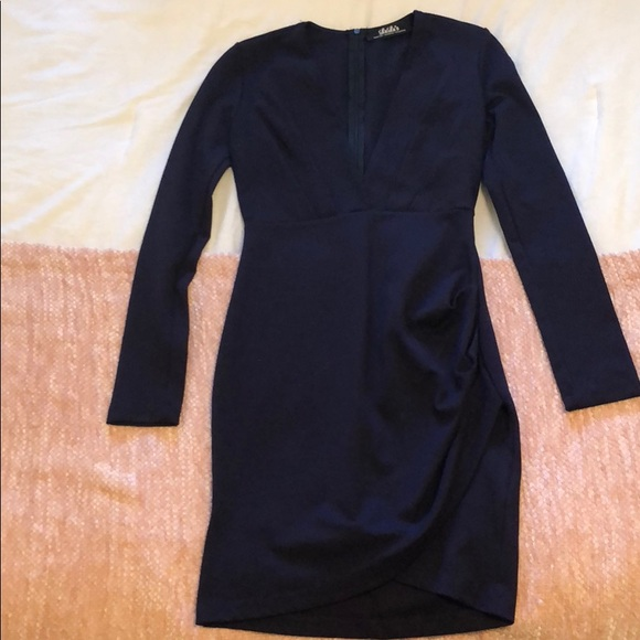 Lulu's Dresses & Skirts - Deep V, long sleeve, navy Lulus dress